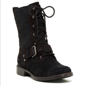 UGG Marela Combat Boot Black Suede